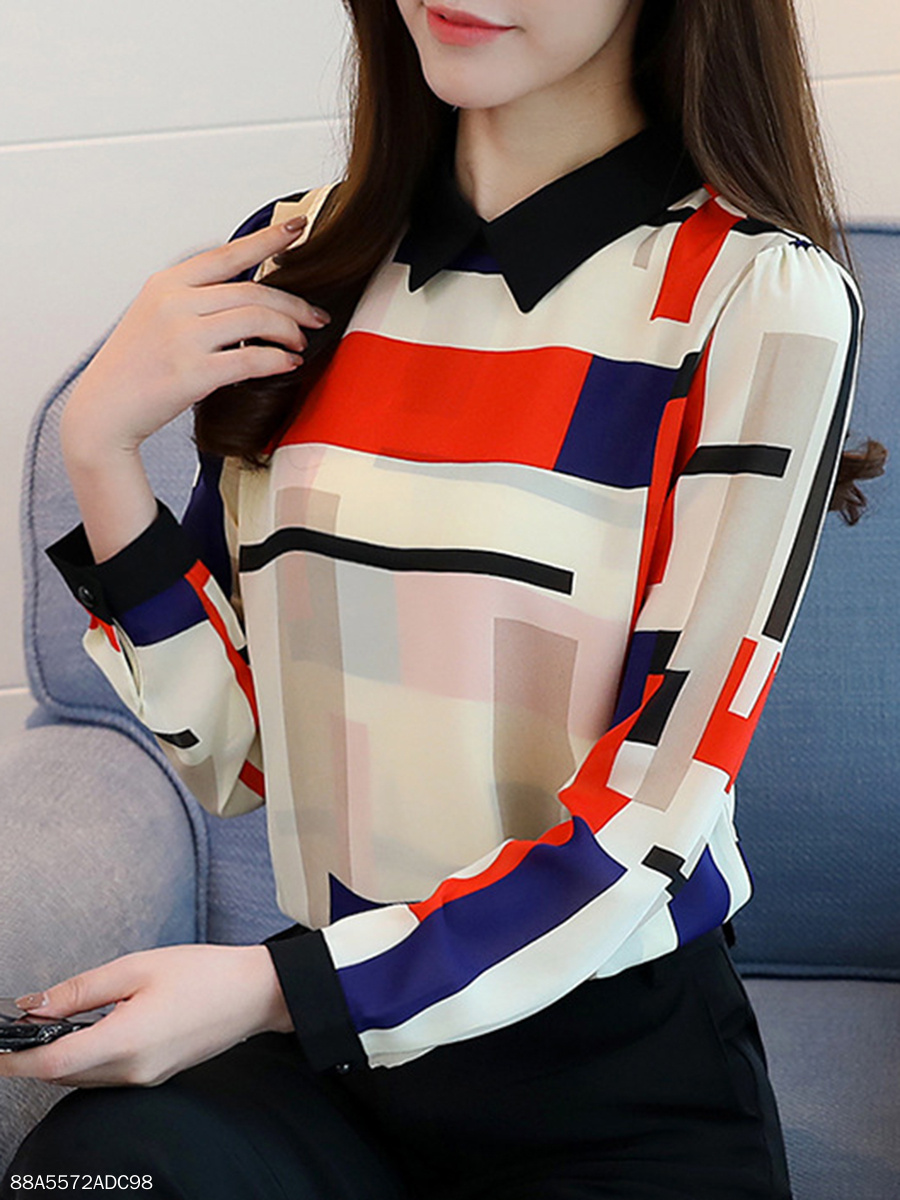Autumn Spring  Chiffon  Women  Turn Down Collar  Color Block Geometric  Long Sleeve Blouses