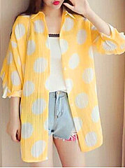 Spring Summer  Polyester  Women  Turn Down Collar  Flounce Single Breasted  Polka Dot Blouses