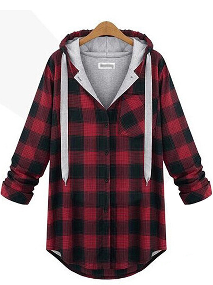 Plaid Single Breasted Patch Pocket Hoodie