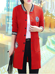 Band Collar Patch Pocket Single Breasted Long Jacket