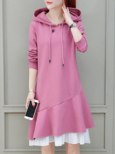 Hooded  Patchwork  Color Block Shift Dress