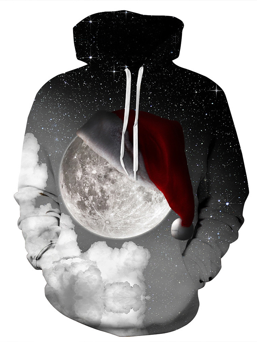 Christmas Hat  Printed Kangaroo Pocket Men Hoodie