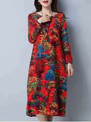 Multi-Color Tree Printed Round Neck Pocket Maxi Dress
