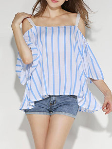 Summer  Polyester  Women  Spaghetti Strap  Striped  Half Sleeve Blouses