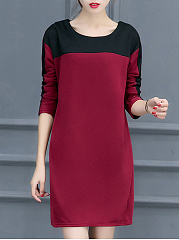 Round Neck  Patchwork  Color Block Casual Shift Dress