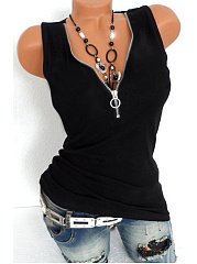 V Neck  Racerback Zipper  Plain Sleeveless T-Shirts