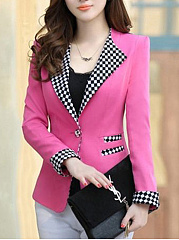 Plaid Notch Lapel Single Button Blazer