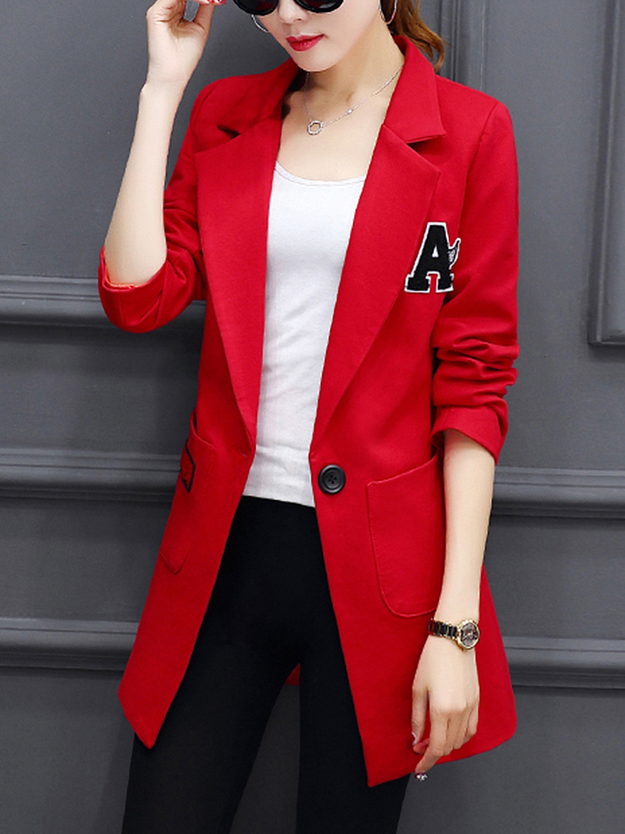 Notch Lapel  Patch Pocket  Decorative Patch Blazer