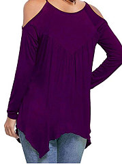 Spring  Polyester  Women  Open Shoulder  Asymmetric Hem  Hollow Out Plain Long Sleeve T-Shirts