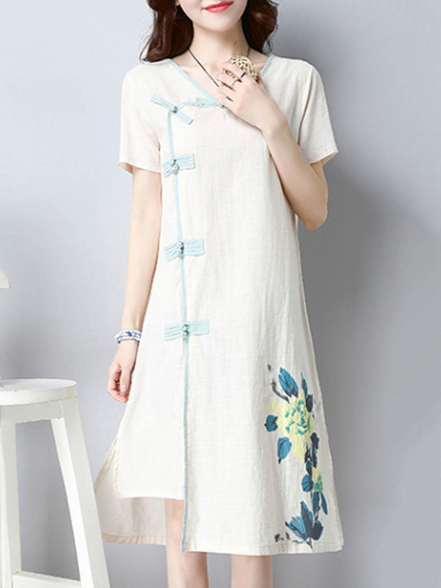 Round Neck Asymmetric Hem Side Slit Decorative Button Maxi Dress