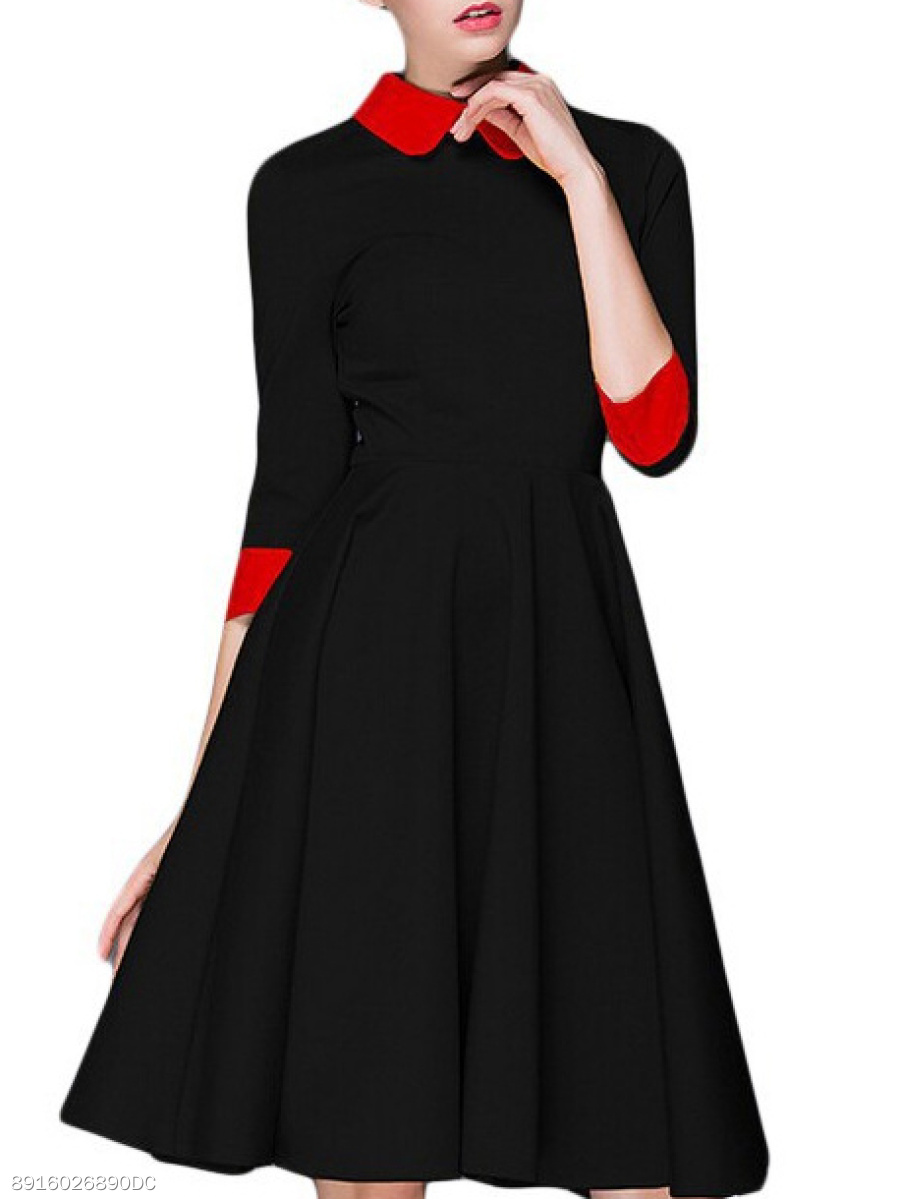 Doll Collar  Color Block Colouring Skater Dress