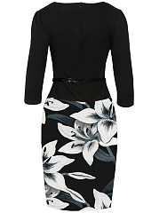 Office Belt Floral Printed Bodycon Dress