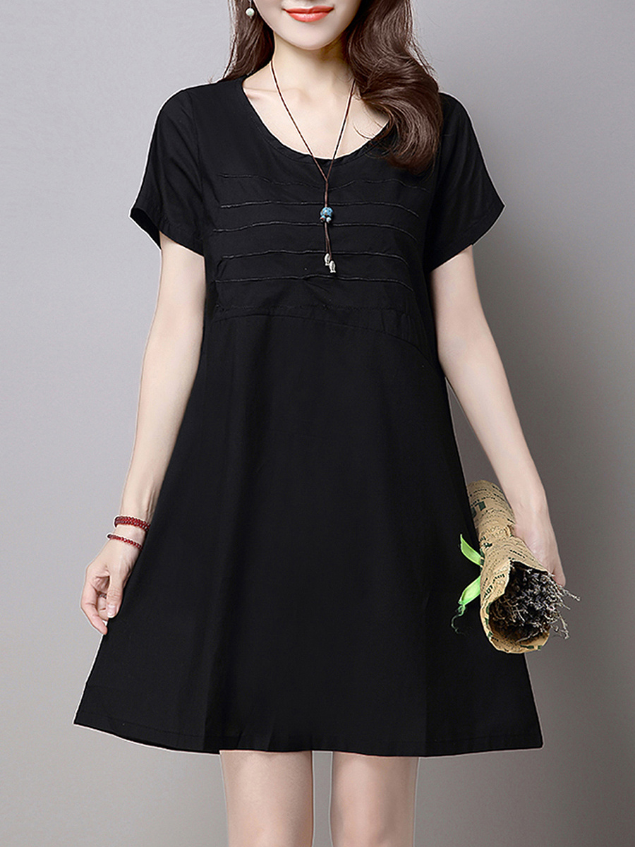 Embroidery Plain Round Neck Shift Dress