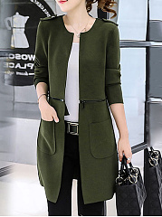 Two Way Plain Zips Patch Pocket Collarless Coat