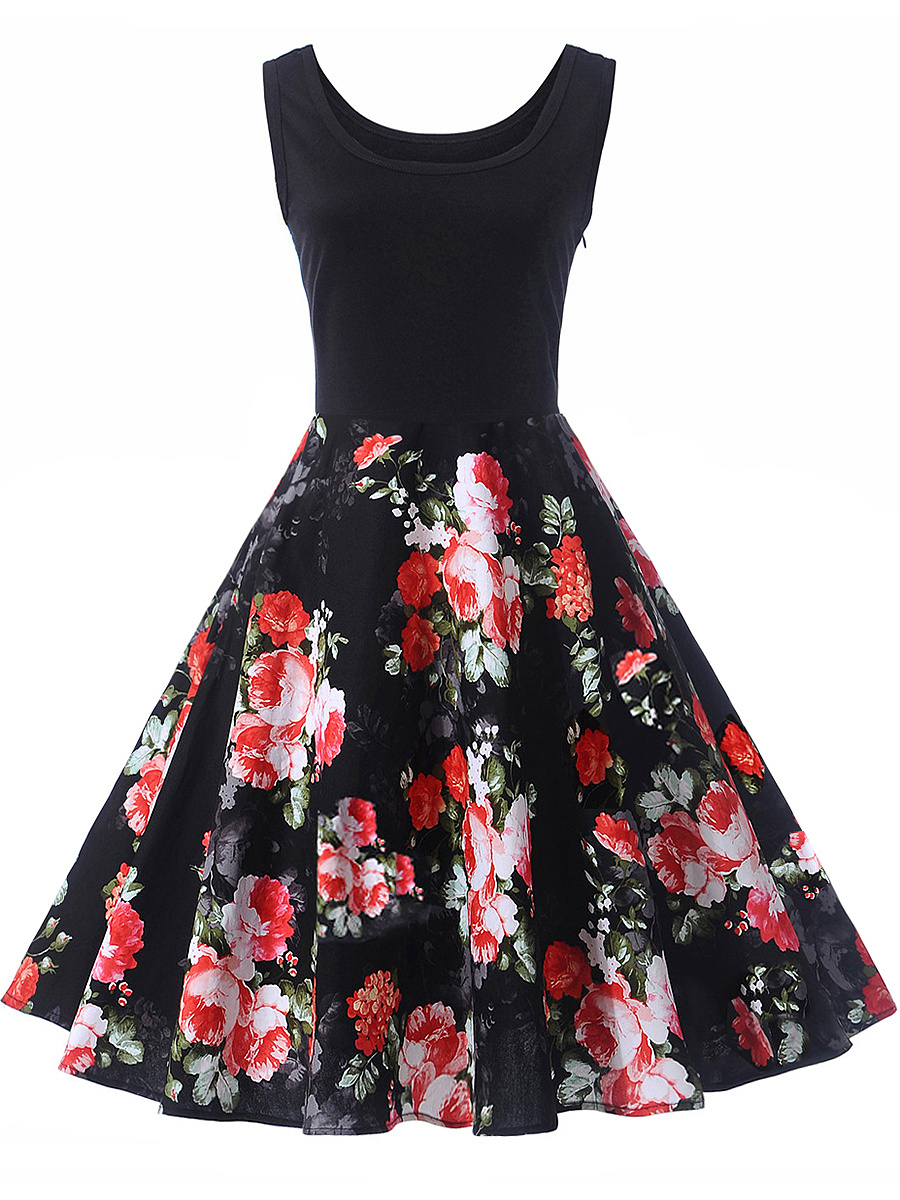 Floral Printed Sleeveless Round Neck Skater Dress