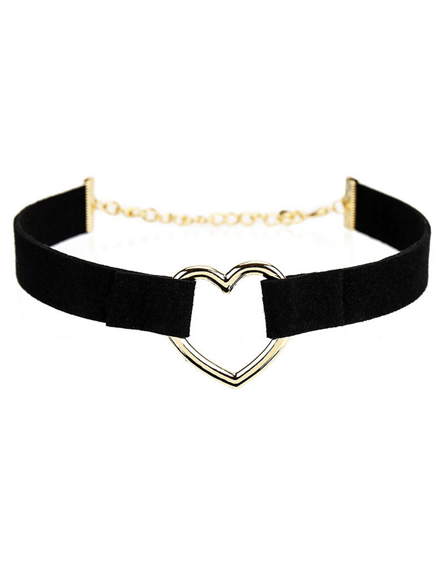 Hollow Out Heart Leather Choker