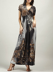 Empire Elastic Waist Animal Tribal Printed Maxi Dress