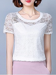 Polyester  Round Neck  Hollow Out Lace Plain  Short Sleeve Short Sleeve T-Shirts