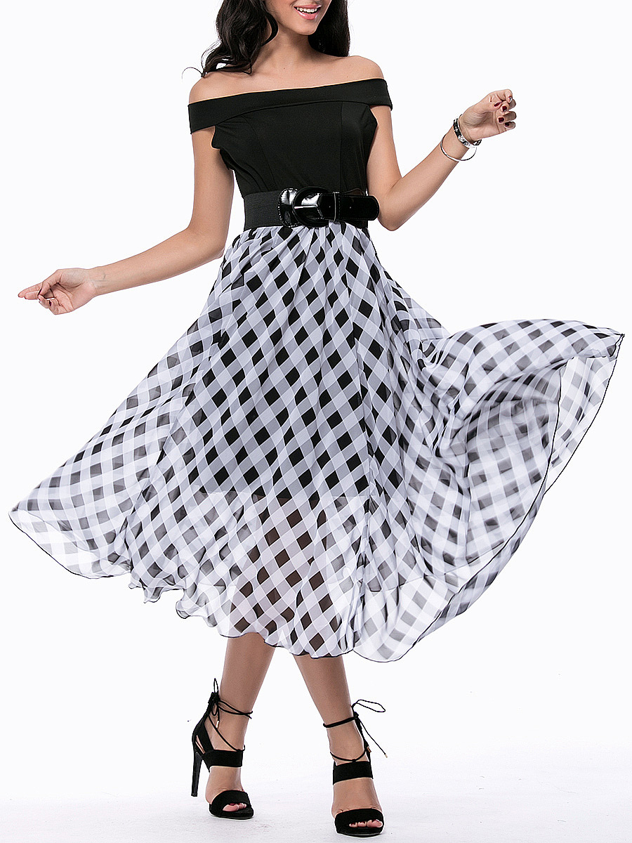 Patchwork Plaid Off Shoulder Belt Midi Skater Dress