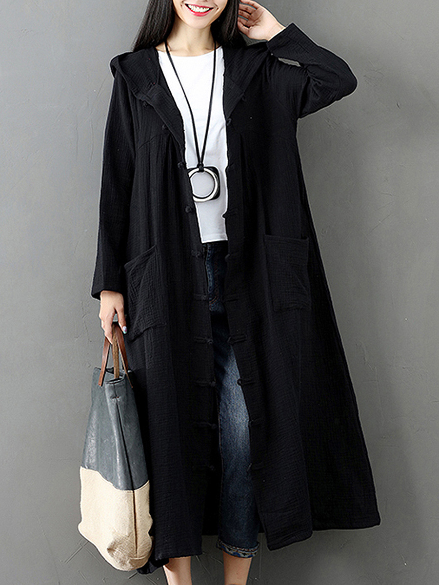 Cotton Loose Retro Long Trench Coat