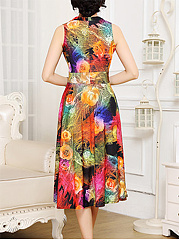 V-Neck Stunning Floral Printed Sleeveless Maxi Dress