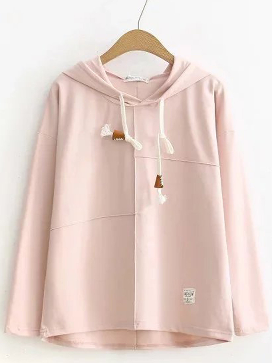 Simple Loose Drawstring Plain Hoodie