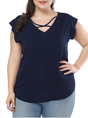V-Neck  Lace-Up  Plain  Sleeveless Plus Size T-Shirts