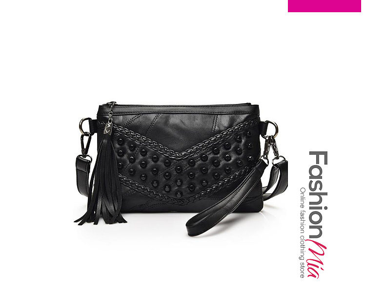 Chic All Black V Beading Fringe Decoration Clutches