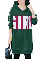 Autumn Spring  Cotton Blend  Letters Plain Striped  Raglan Sleeve  Long Sleeve Hoodies