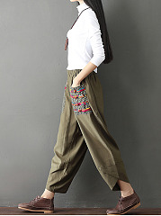 New Cutout Patch Pocket  Bohemian Style Embroidery  Wide-Leg  Mid-Rise Casual Pants