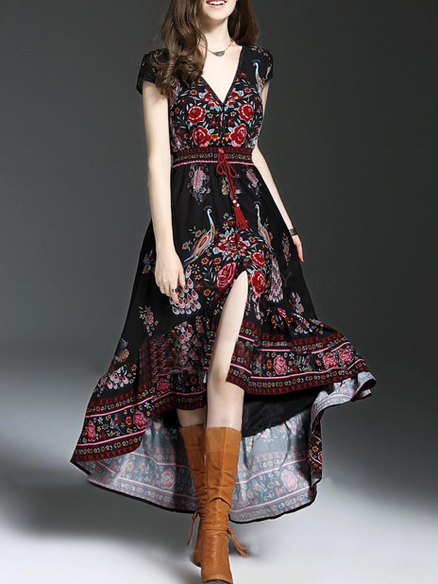 V-Neck  Drawstring  Printed  Polyester Maxi Dress