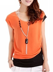 Spring Summer  Women  Color Block  Short Sleeve Blouses