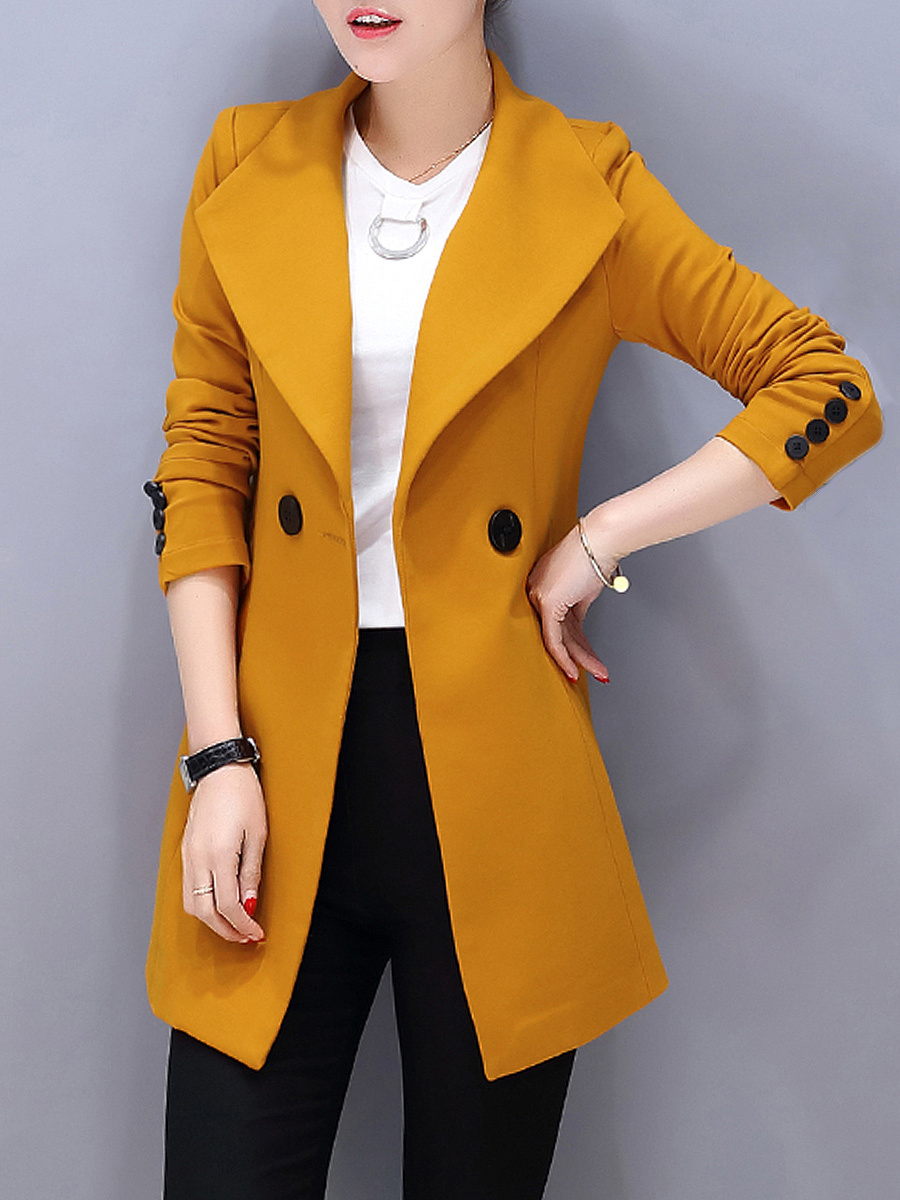 Lapel Pocket Plain Longline Blazer