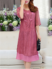 Round Neck  Applique Plain  Polyester Maxi Dress