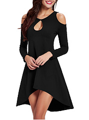 Sexy Open Shoulder Keyhole Plain High-Low Skater Dress