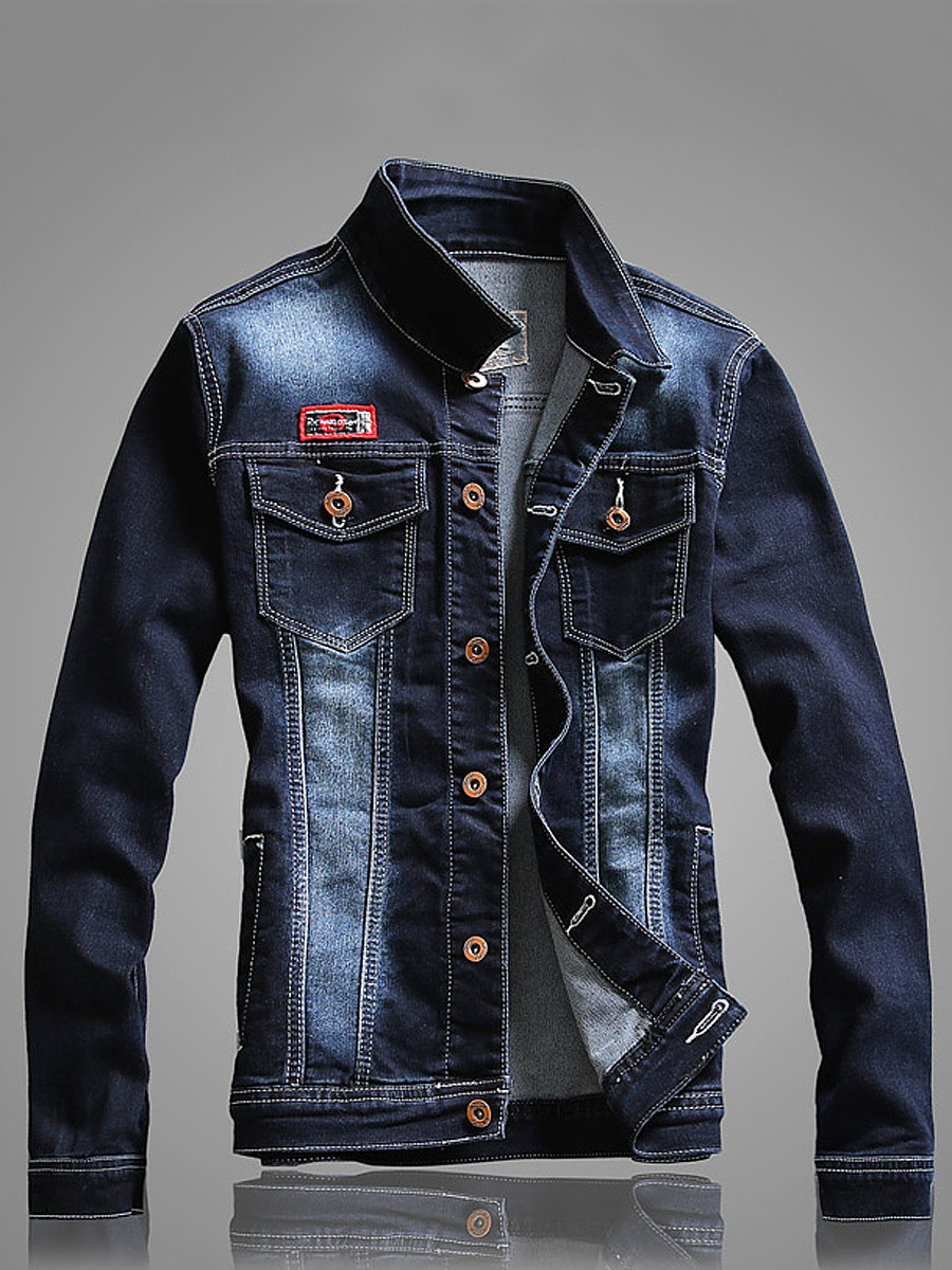 Single Breasted Flap Pocket Denim Men Jacket