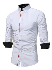 Fitted Contrast Trim Turn Down Collar Men Shirts