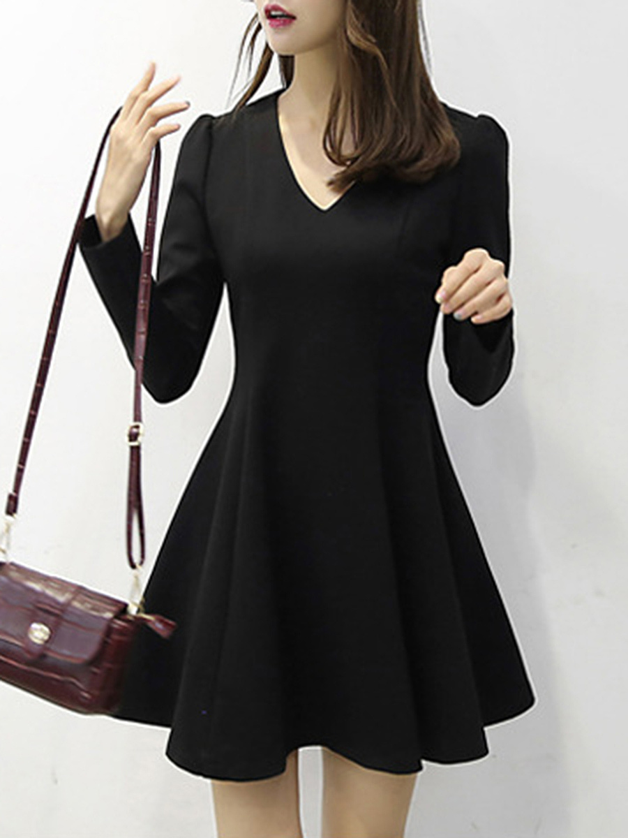 V-Neck Solid Long Sleeve Mini Skater Dress