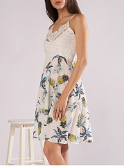 Spaghetti Strap Backless Patchwork Printed Skater Dress