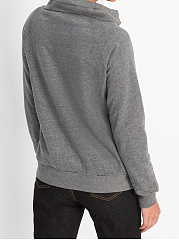 Asymmetric Neck  Slit Pocket  Decorative Button  Plain  Long Sleeve Sweatshirts