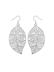 Openwork Leaf Pendant Necklace Earring Set