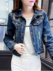 Fold-Over-Collar-Single-Breasted-Ripped-Plain-Long-Sleeve-Jackets