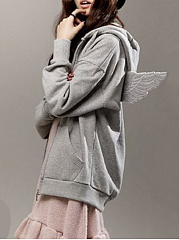 Autumn Spring  Cotton Blend  Hooded  Zips  Plain  Long Sleeve Hoodies