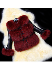 Lapel Patchwork Fluffy Faux Fur Coat