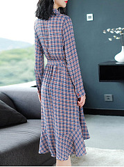 Turn Down Collar  Backless  Belt  Plaid Maxi Dress