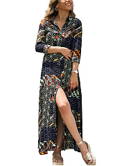 Turn Down Collar  Printed Fashion Shift Dress