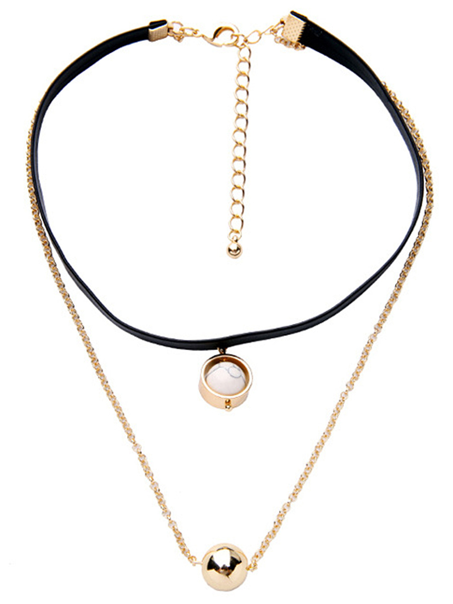 Double Strand Faux Leather Choker Necklace