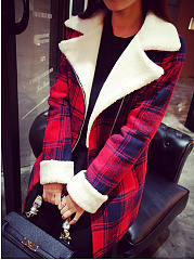 Lapel Plaid Pocket Woolen Coat