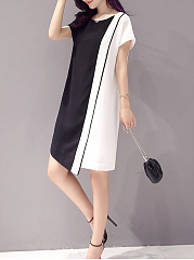 Round Neck  Color Block  Blend Bodycon Dress