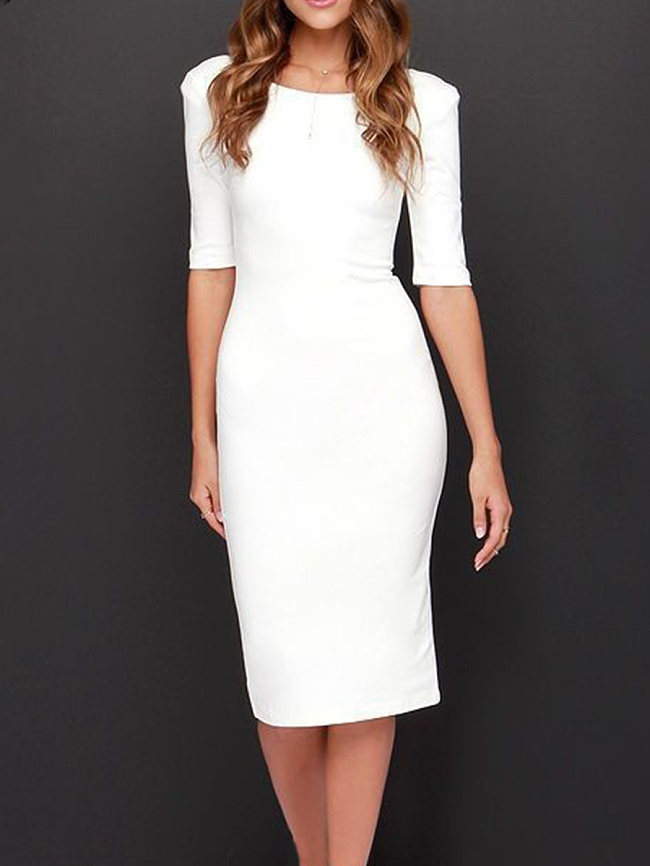 Image of Fashionmia Boat Neck Plain Blend Bodycon Dress